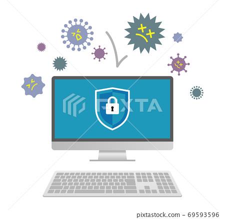 受安全保護的計算機的插圖圖像 69593596