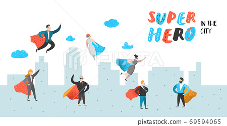 Superhero Business People Characters Poster 69594065