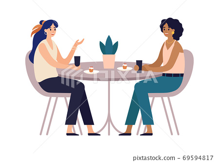 Women friends. Cafe meeting with friends. Girls sitting in restaurant at table communicating, eating 69594817