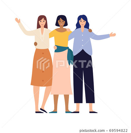 Women friends group portrait. Happy young girls stand together. Smiling teenage female characters in casual 69594822