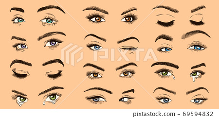 Female eyes. Open, closed and crying colored women eyes with luxurious lashes, perfect eyelash, girl makeup isolated vector collection 69594832
