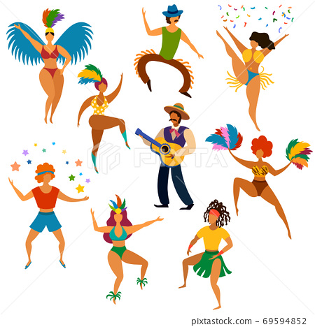 Carnival people. Happy dancing men and women in bright costume and playing latin festive music party, fun carnival parade cartoon vector set 69594852