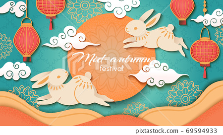 Mid autumn. Happy chinese autumn festival, rabbits and asian flowers and lanterns, moon and clouds, oriental style vector background 69594933