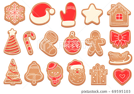 Gingerbread. Christmas cookies new years bell, xmas tree, snowflakes and star, santa and snowman, gingerbread man and house vector set 69595103