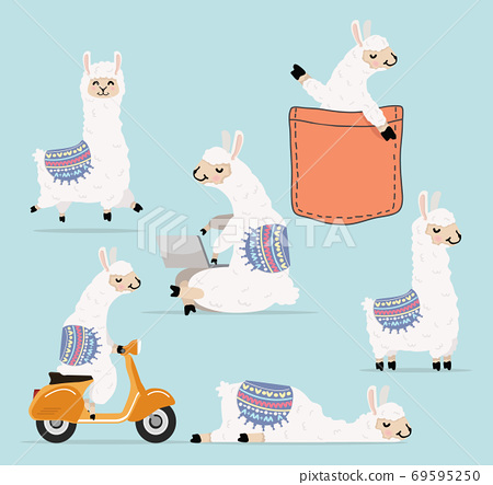 Cartoon llama and alpaca character collection 69595250