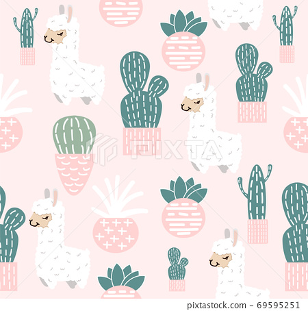 Funny doodle alpaca with Cactus seamless pattern 69595251