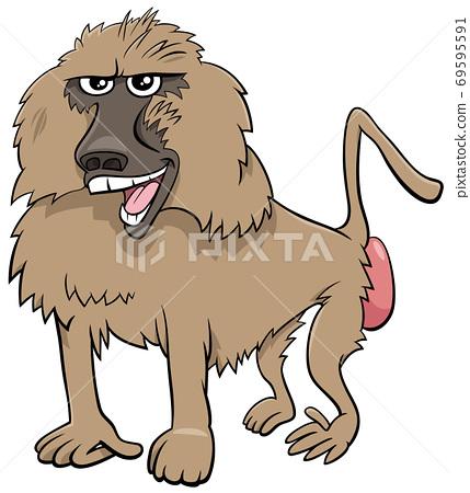 baboon monkey wild animal cartoon illustration 69595591