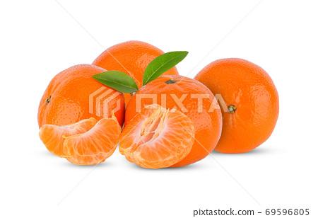 tangerine or mandarin fruit leaves isolated on white background 69596805