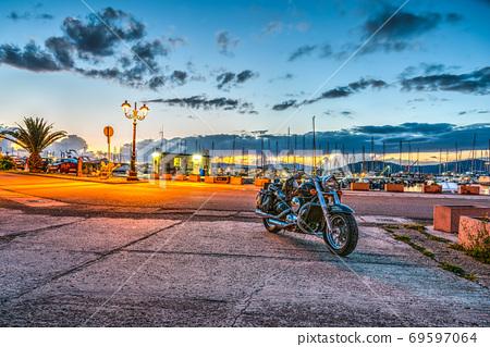 Motorcycle in Alghero harbor 69597064