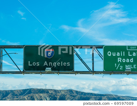 Los Angeles sign in Interstate 5 southbound 69597089