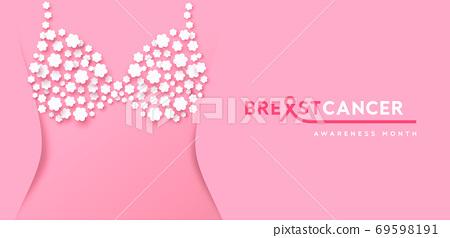 Breast Cancer month banner flower bra underwear 69598191