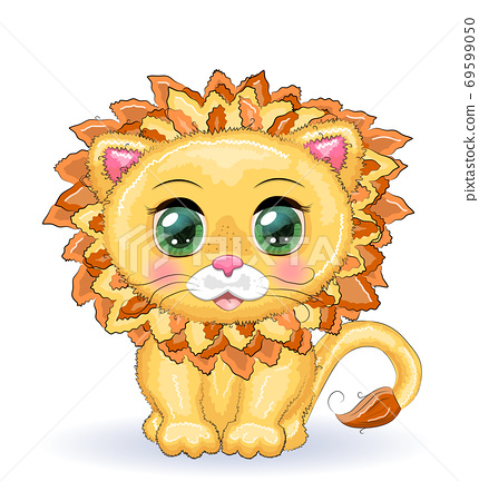 Cute cartoon lion with big eyes in a children's bright style. 69599050