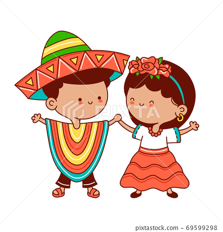 Kids in traditional mexican costume 69599298