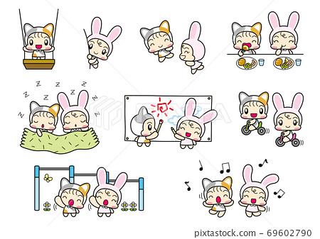 兒童套裝,穿著貓和兔子服裝玩 69602790
