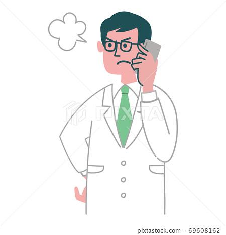 醫生,醫生,男性,手機,智能手機,憤怒 69608162