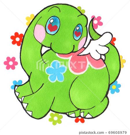 鮮花和微笑的恐龍 69608979
