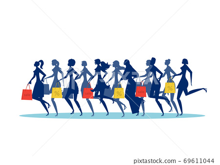 Many woman silhouette running  with shopping bags. Black friday sale  Vector illustration. Isolated on white background 69611044