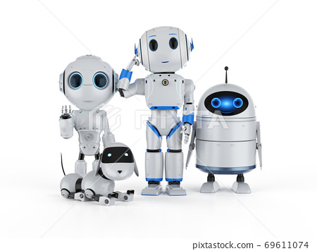 group of artificial intelligence robots 69611074