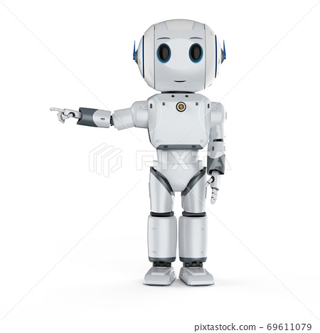 cute artificial intelligence robot finger point 69611079