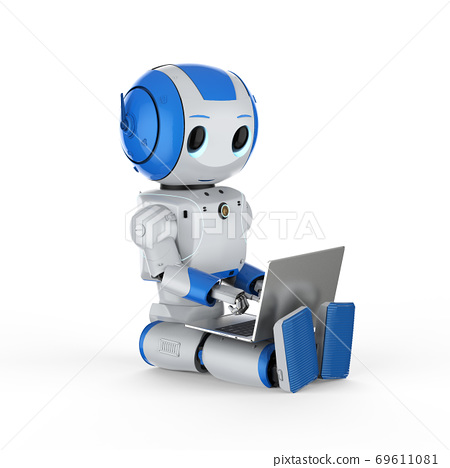 cute artificial intelligence robot with notebook 69611081