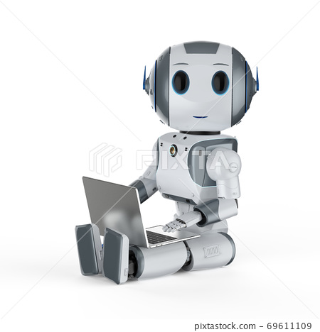cute artificial intelligence robot with notebook 69611109