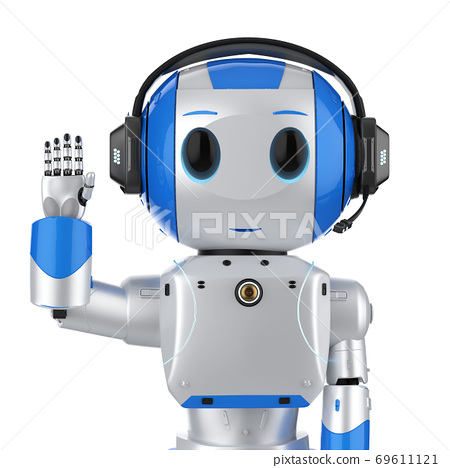 cute artificial intelligence robot with headset 69611121