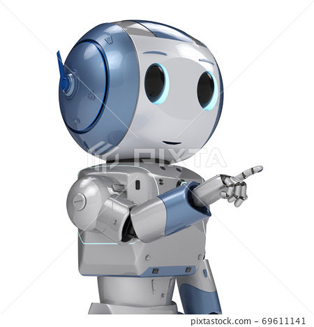 cute artificial intelligence robot finger point 69611141