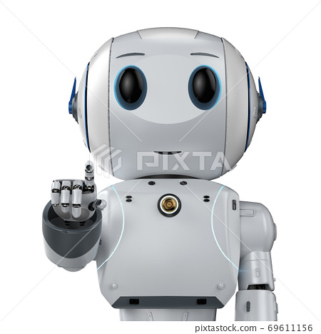 cute artificial intelligence robot finger point 69611156