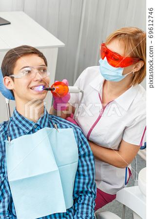 Beautiful woman dentist treating teeth in dental office 69612746