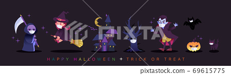 Halloween cartoon characters wearing face mask during Covid-19 pandemic. 69615775