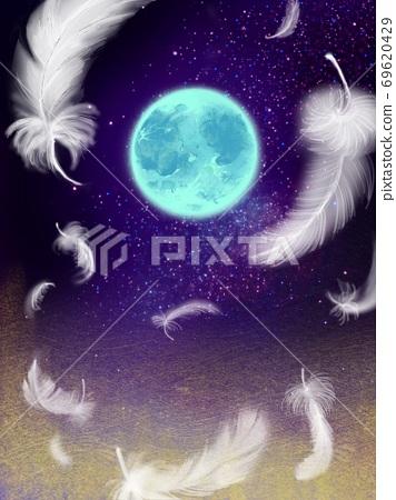 羽毛在星空和夢幻般的宇宙中跳舞的幻想背景 69620429