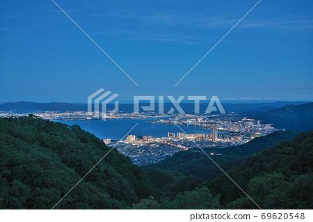 [從比叡山車道看到的琵琶湖(夜景)]滋賀縣大津市山上町 69620548