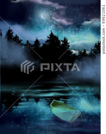 獨木舟漂浮在夜空與星星,月亮和大海 69621061