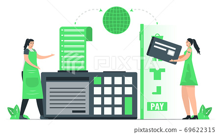 For purchase something, people use credit card to pay money around the world. Payment with internet banking. Minimal green monochromatic color design in e-payment concept. 69622315