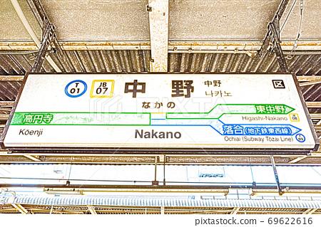 [車站風景] JR中野站車站名標記[彩色鉛筆] 69622616