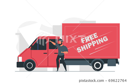 A male courier delivers goods around the city in a truck. Free shipping vector illustration 69622764