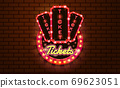 light sign ticket booth brickwall background 69623051