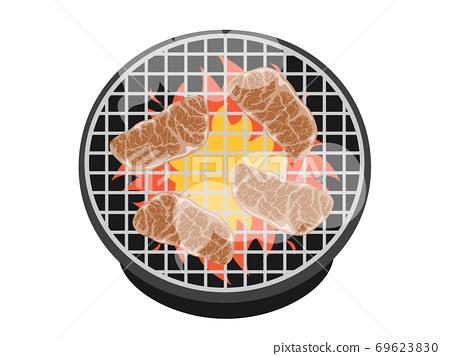 在七個輪子上烤的肉的插圖 69623830