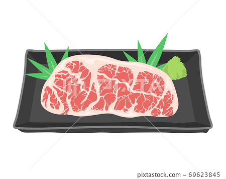 Illustration of marbled beef on a plate 69623845