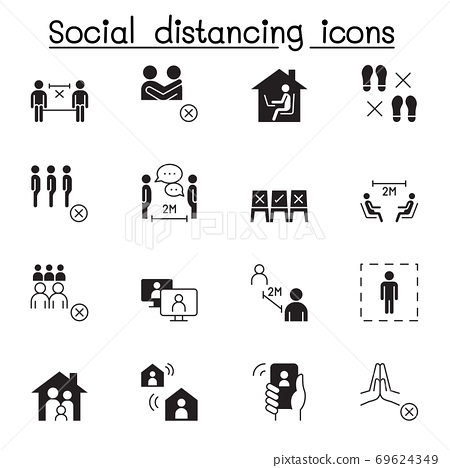 Set of Social distancing Vector Icons. Contains such Icons as work from home, stay home and more. 69624349