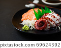 Tako and Salmon sashimi on black dish with chopsticks, 69624392