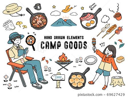 父母和孩子,營具,煎鍋和串的食物圖 69627429