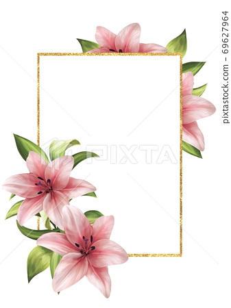 Floral card with frame and pink lilies 69627964