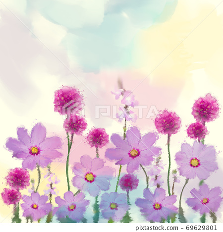 Purple flowers watercolor illustration. 69629801