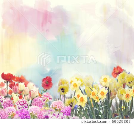 Watercolor flowers. Digital illustration. 69629805