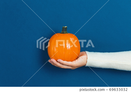 Woman holding an orange pumpkin 69633032