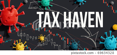 Tax Haven theme with viruses and stock price charts 69634328