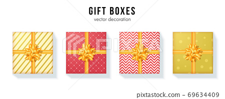 Set of gift boxes with yellow ribbon and bow tie 69634409