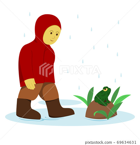 Little Boy in Red Raincoat and Frog in the Rain. 69634631