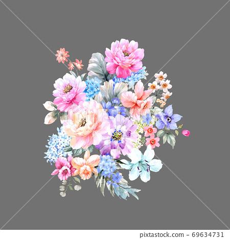 水彩玫瑰花卉集合 69634731